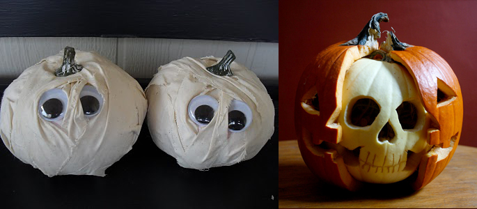 {photo Credit} Google Eyed Mummy Pumpkins, Skull Pumpkin
