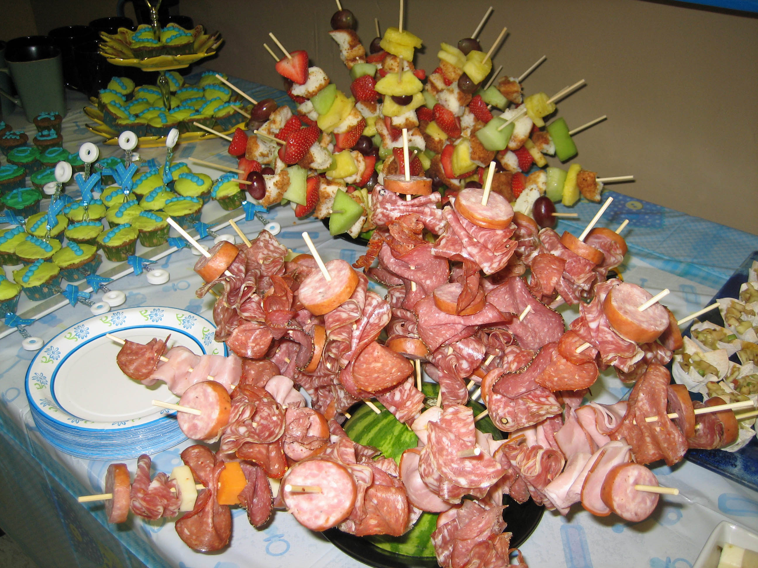 cute baby shower finger foods cold meat kebab sticks food platter